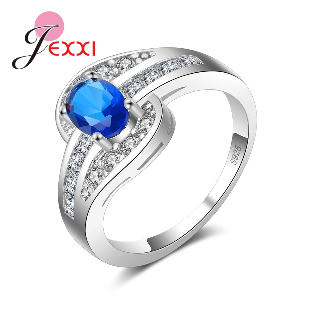 [해외]JEXXI Unique 925 Sterling Silver Wedding Rings For Women Bands Jewelry Cubic Zirconia Engagement Anniversary Finger Ring Lady/JEXXI Unique 925 Ste