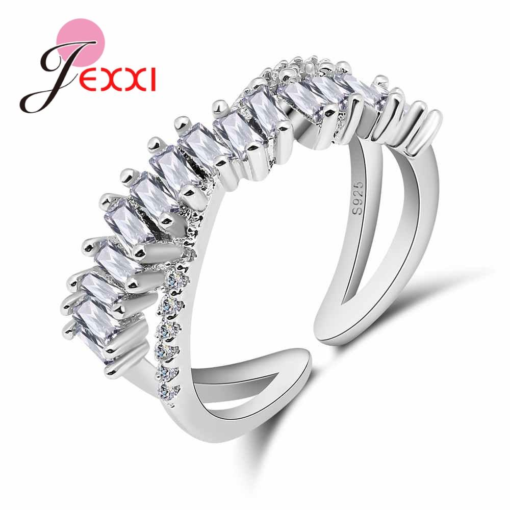 [해외]JEXXI Women Wedding 925 Sterling Silver Austrian Crystal Rings Jewelry Fashion Opening Adjustable Engagement Proposal Anillos/JEXXI Women Wedding