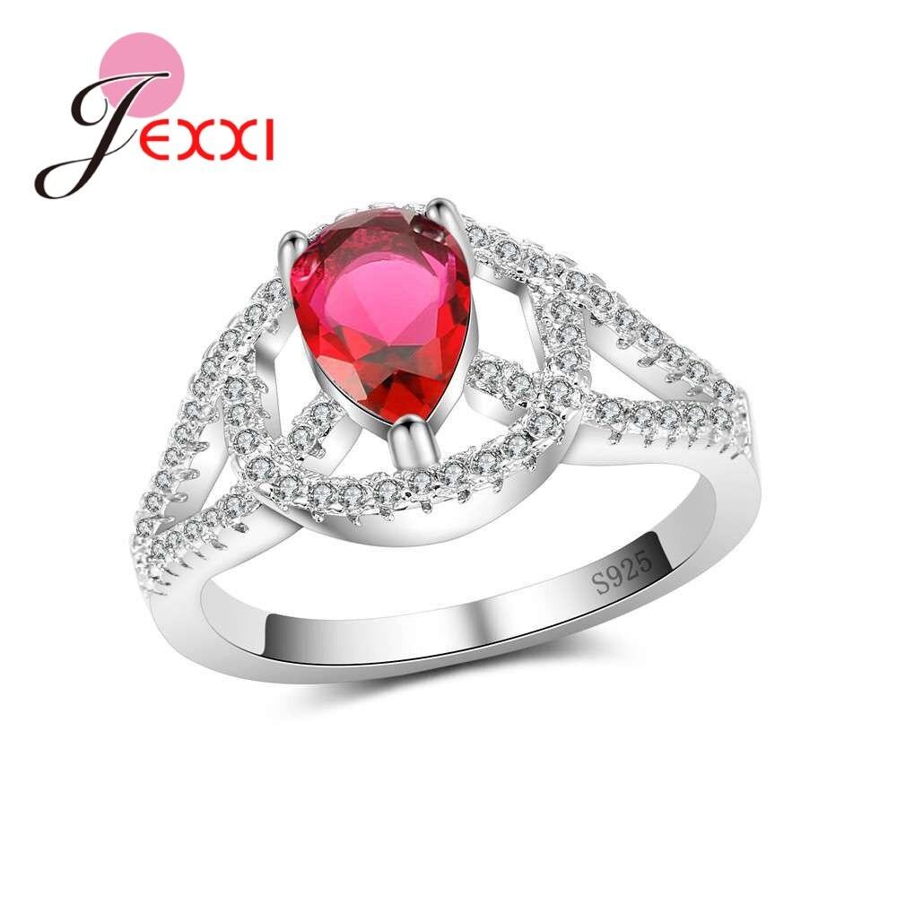 [해외]JEXXI New Arrivals Fashion 925 Sterling Silver RingsShininy Crystals Design For Women Ladies Wedding Banquet Bague Bijoux/JEXXI New Arrivals Fashi