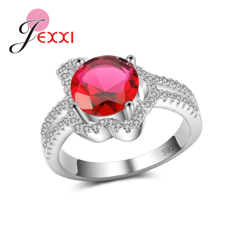 [해외]JEXXI Exquisite Real 925 Sterling Silver Luxurious Rings Paved Big Round Crystals For Women Female Wedding Anniversary Best Gift/JEXXI Exquisite R