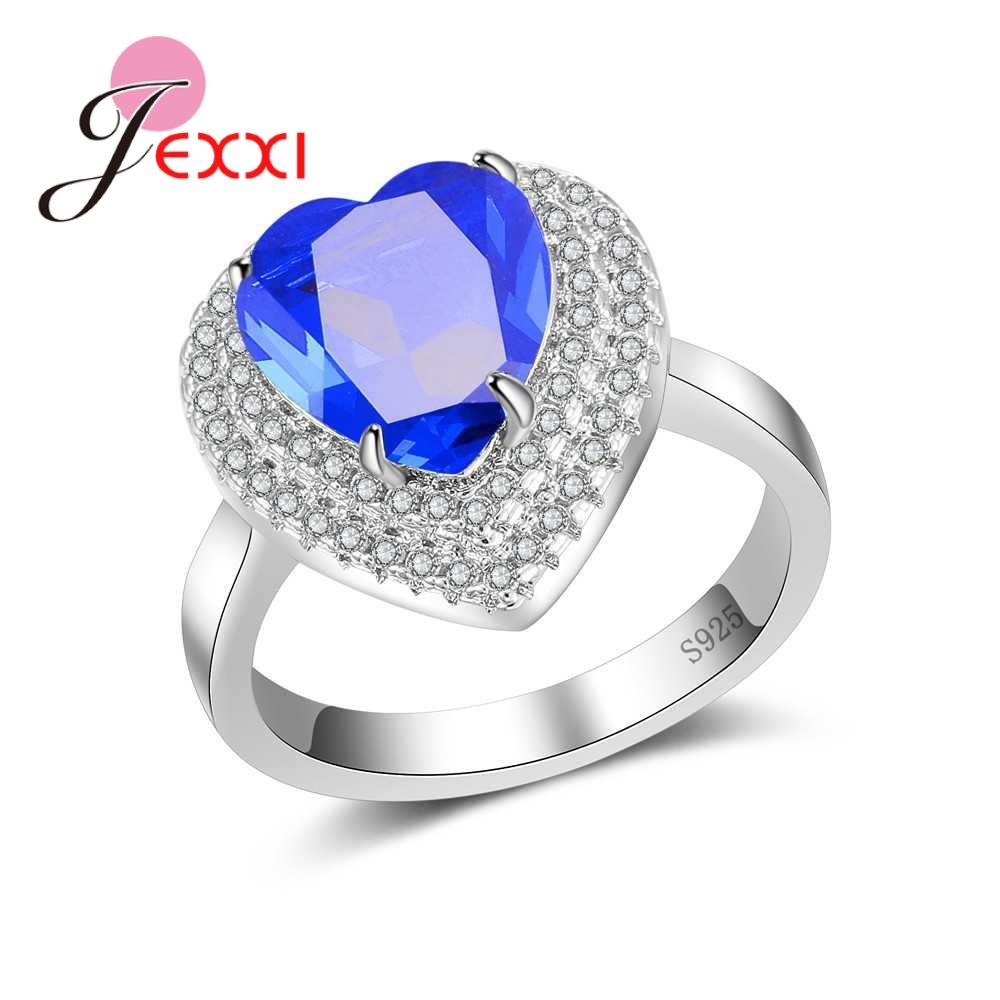 [해외]JEXXI New Heart Cubic Zircon Wedding Rings for Women Fine Pure 925 Sterling Silver Full aaa CZ Stones Paved Fingers Jewelry Gift/JEXXI New Heart C
