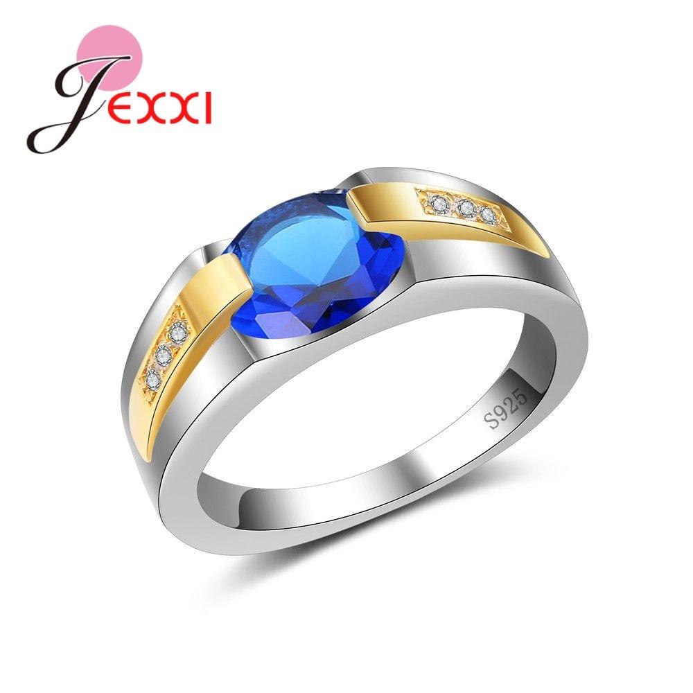 [해외]JEXXI 100% 925 Sterling Silver AAA+ Cubic Zirconia Bezel CZ Ring Charming Blue Austrian Crystal UniWomen Men`s Fashion/JEXXI 100% 925 Sterling Sil
