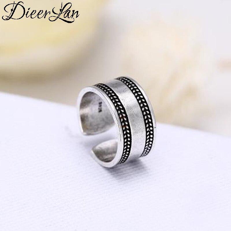 [해외]DIEERLAN Bohemian Punk 925 Sterling Silver Round Large Rings for Women Ladies Retro Vintage Antique Finger Rings Wedding Jewelry/DIEERLAN Bohemian