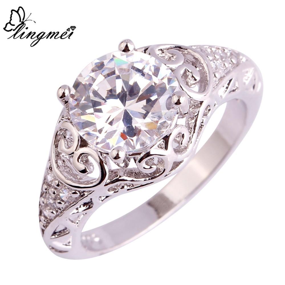 [해외]lingmei Wedding Gift Dazzling White AAA Cubic Zirconia Silver Ring Size 6 7 8 9 10 11 Trendy Wholesale Jewelry For Women Men /lingmei Wedding Gift