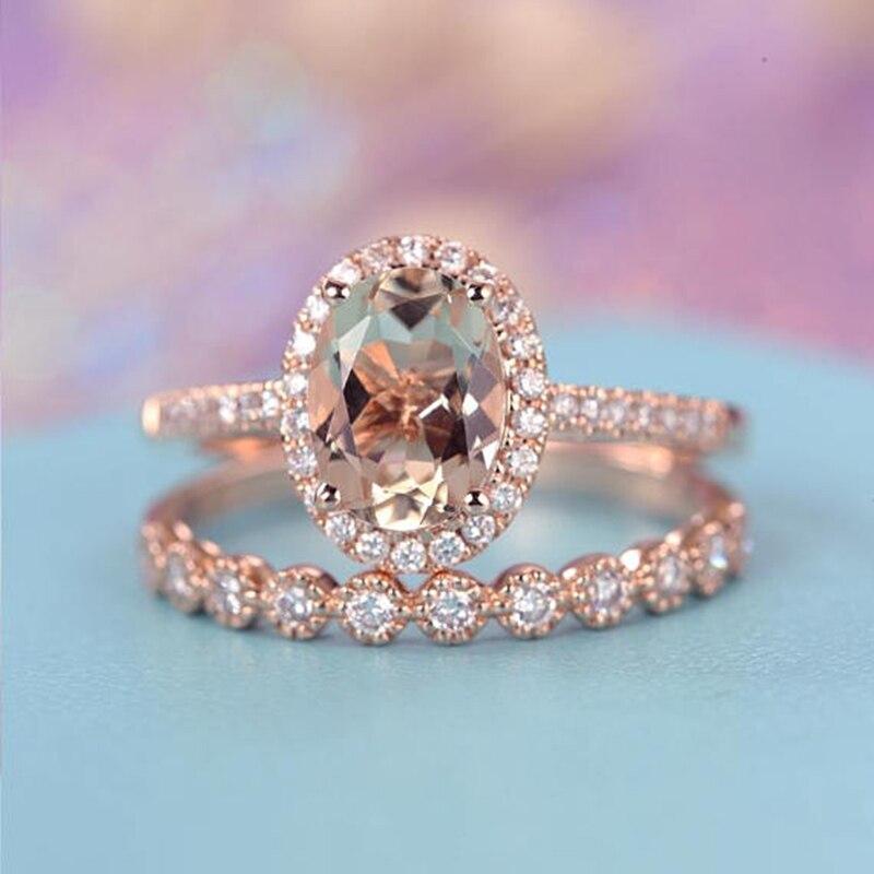 [해외]MDNEN Wedding Engagement Ring CZ Oval Rose Gold Infinity Rings for Women Cubic Zirconia Jewelry Fashion Accessories Gifts/MDNEN Wedding Engagement