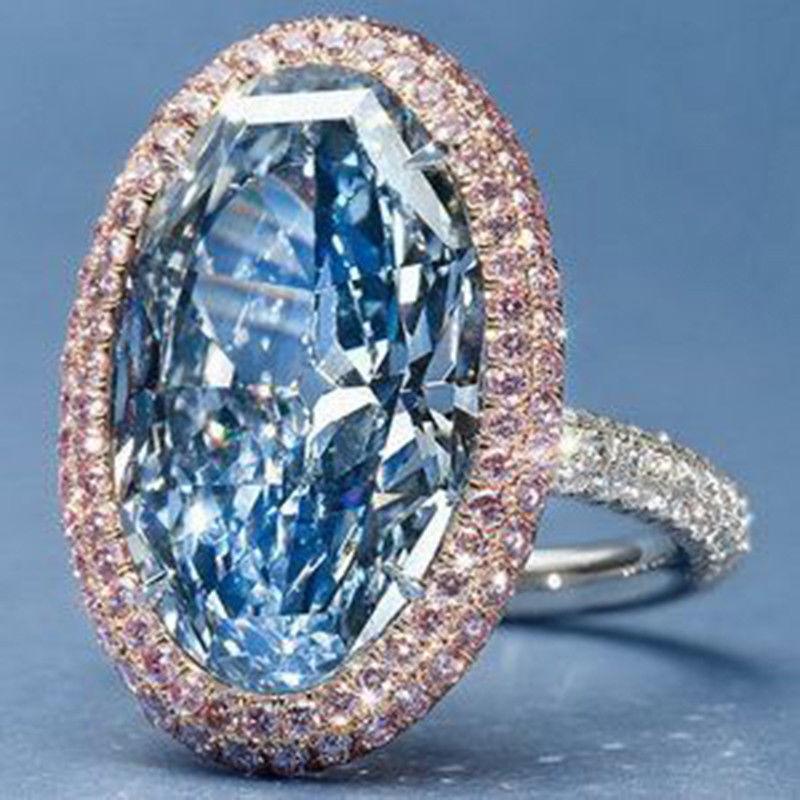 [해외]New Oval Blue Gems Wedding Jewelry Engagement Silver fashion temperament romantic grace Popular Anniversary  Ring Size 6-10 /New Oval Blue Gems We