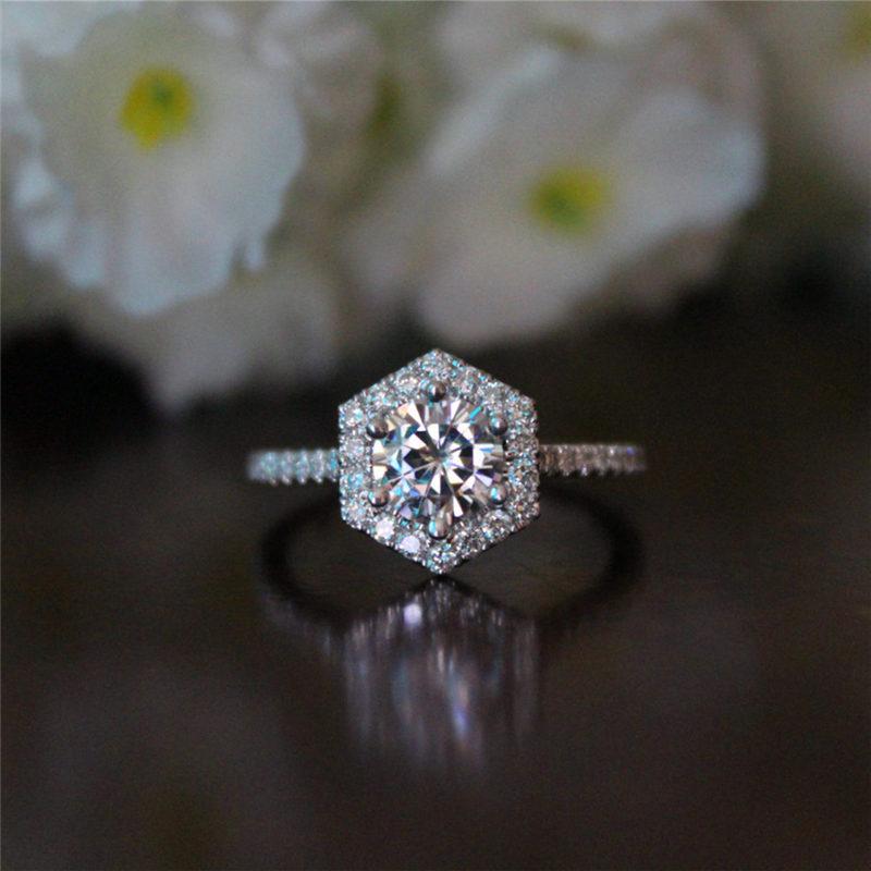 [해외]Cute Female Crystal Hexagon Snowflake Ring Luxury Fashion Silver Color Wedding Band Jewelry Promise Engagement Rings For Women/Cute Female Crystal