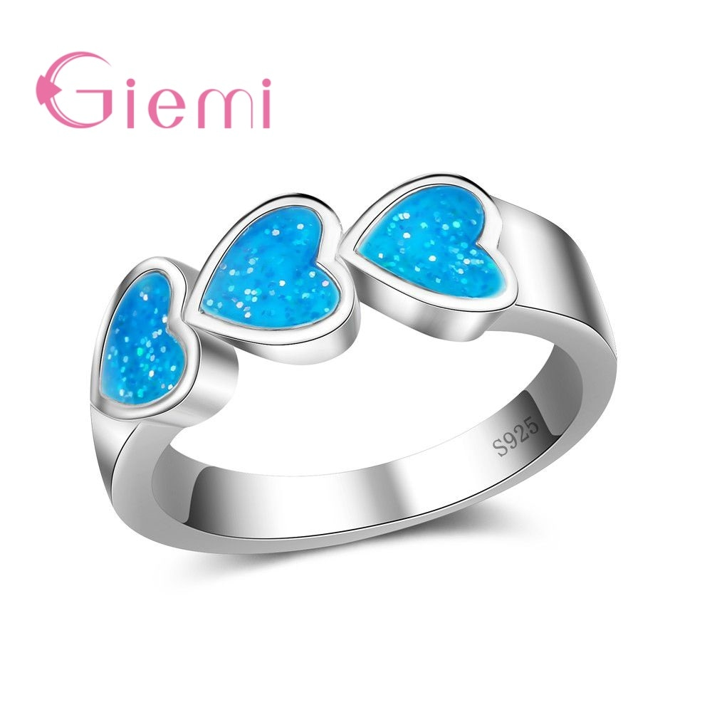 [해외]GIEMI Top Quality Real 925 Sterling Silver Rings For Women Luxury Heart Shape Bridal Jewelry Accessories Opal Anillos /GIEMI Top Quality Real 925