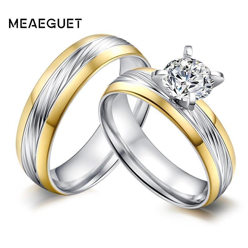 [해외]Big CZ Stone Stainless Steel Engagement Ring Wedding Brands Twill Grain Engraved Center Couples Jewelry For Women Men Gifts/Big CZ Stone Stainless