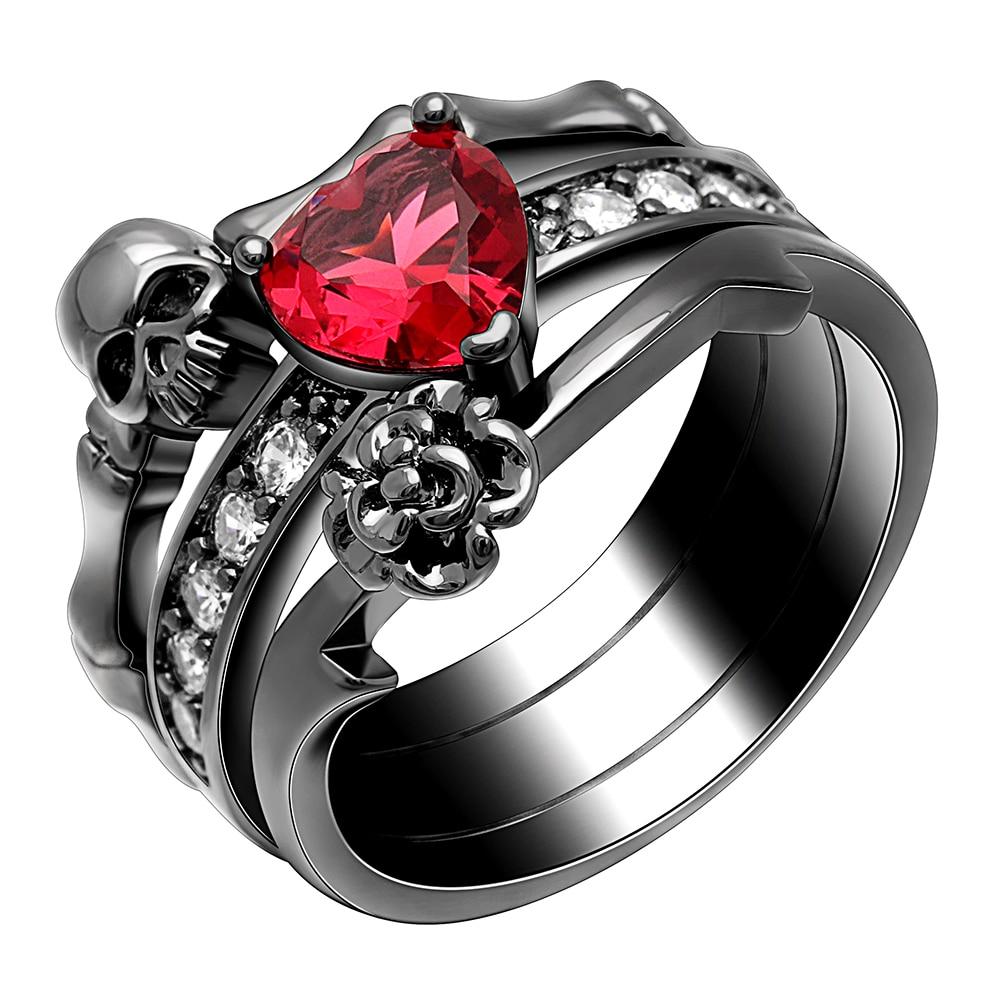 [해외]Black Gold Color Ring Set  Red Heart Cz Skull  Flower Rings Engament Wedding Ring Fashion  Jewelry For Women/Black Gold Color Ring Set  Red Heart