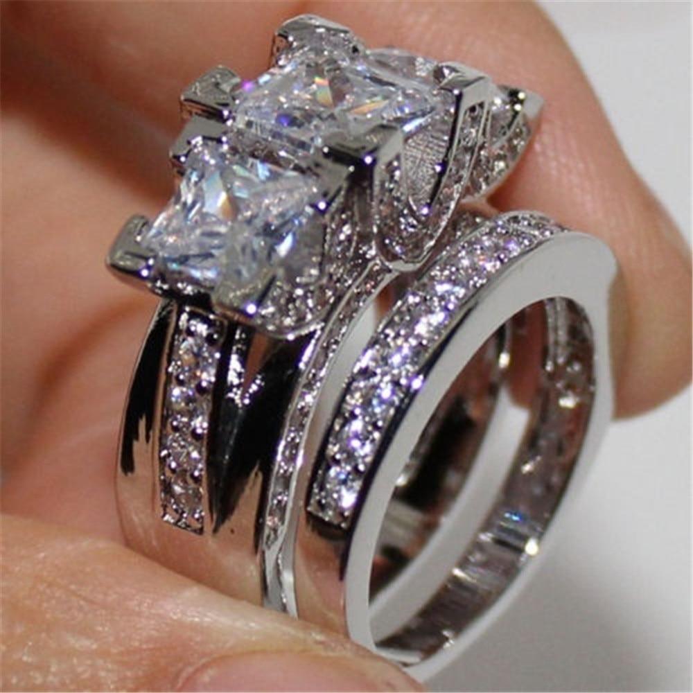 [해외]2 pcs/set Hot  BIg Zircon CZ Stone Bling Silver Wedding Engagement Ring Set for Women Fashion Jewelry Gift 2019/2 pcs/set Hot  BIg Zirco