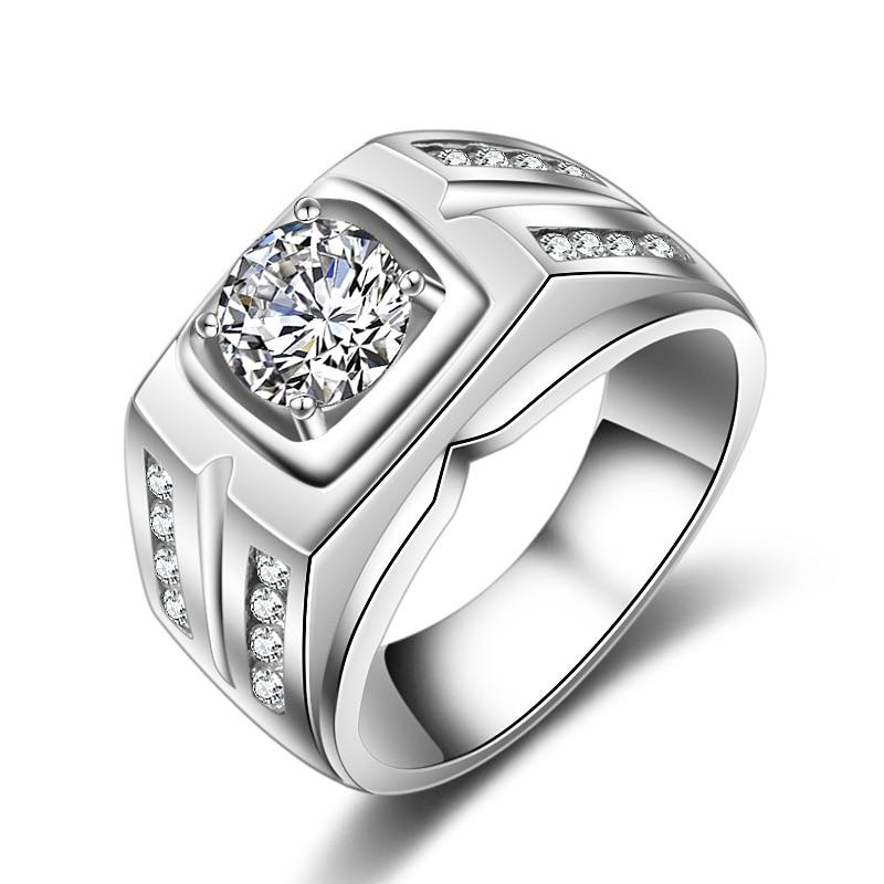 [해외]Solitaire male ring 925 Sterling silver 7mm AAAAA Sona Zircon cz Engagement Wedding Band Rings for men Statement Party Jewelry/Solitaire