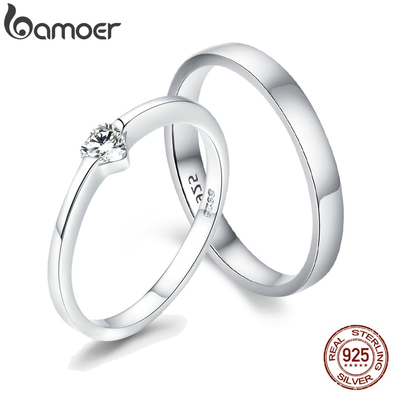 [해외]BAMOER Silver Heart Couple Rings for Women 925 Sterling Silver Love Engagement Wedding Jewelry Gift for Her Small Ring GXR468/BAMOER Sil