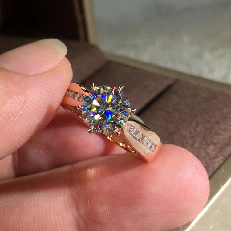 [해외]Luxury Female Ladies Crystal Solitaire Ring Cute Silver Rose Gold Color Wedding Ring Promise Engagement Rings For Women/Luxury Female La