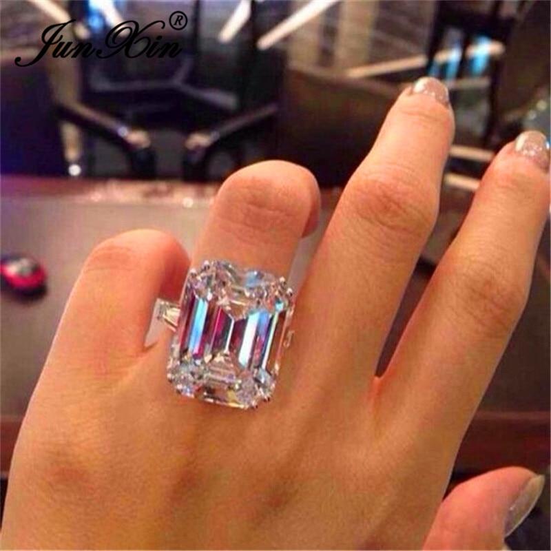 [해외]JUNXIN Female Austrian Crystal Princess Cut Stone Wedding Rings For Women 925 Silver Filled Big White Zircon Engagement Jewelry/JUNXIN F