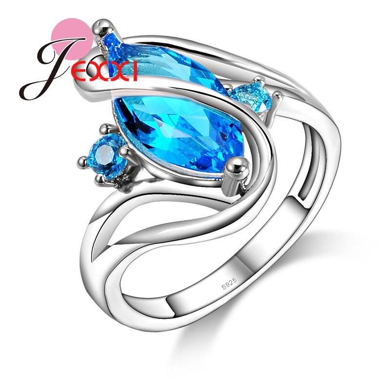 [해외]JEXXI 패션 여성 특별 할로우 블루 크리스탈 반지 925 스털링 실버 클래식 큐빅 지르코니아 웨딩 쥬얼리/JEXXI Fashion Women Special Hollow Blue Crystal Ring 925 Sterling Silver Classic Cubi