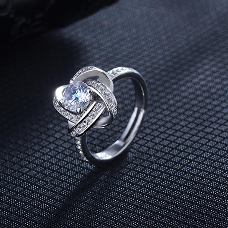 [해외]빈티지 회전 디자인 여성 1.25ct AAA CZ 크리스탈 약혼 크로스 반지 925 스털링 실버 파티 쥬얼리 회전/Vintage Rotating Design Sparkling 1.25ct AAA CZ Crystal Engagement Cross Rings For