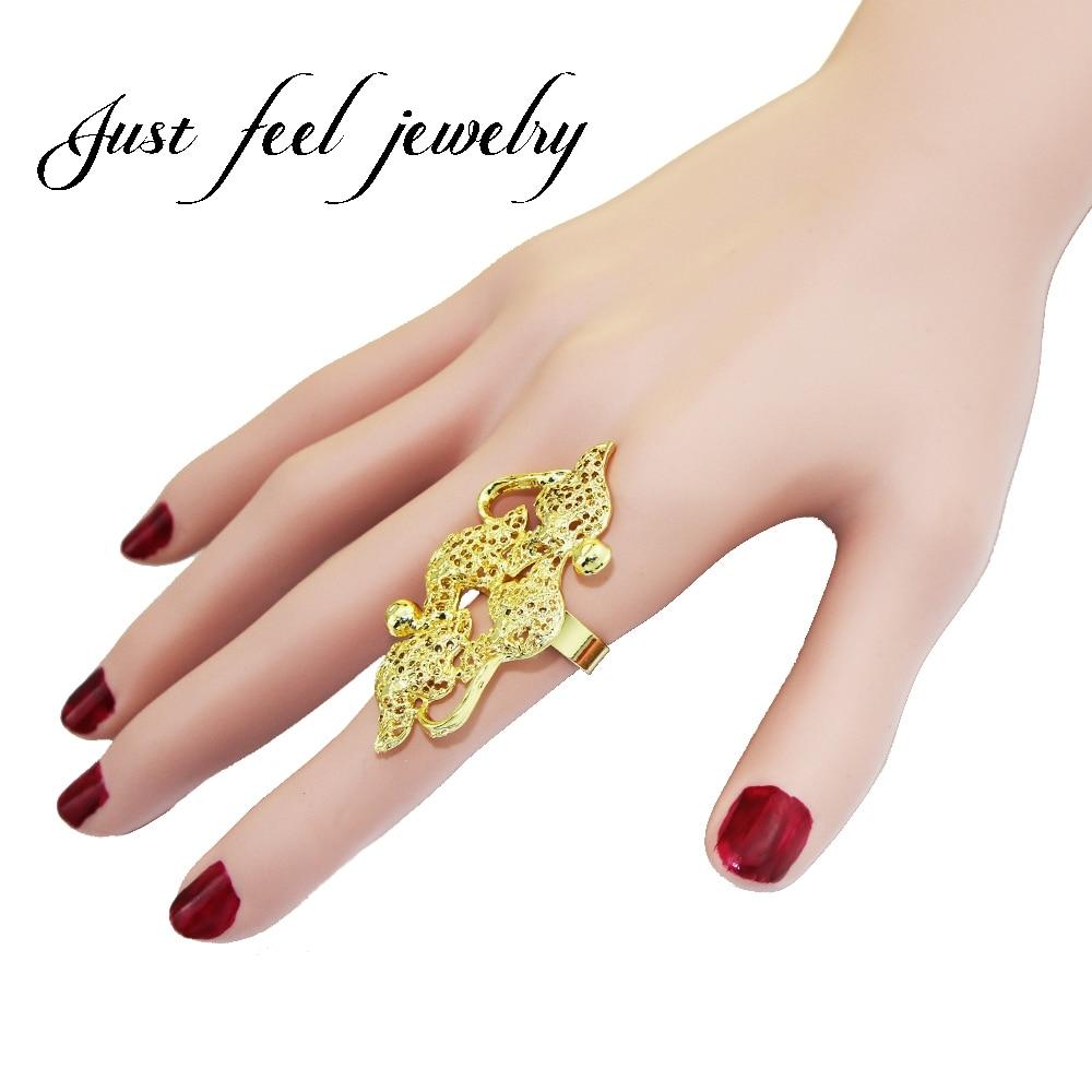 [해외] 느낌 2018 패션 크기 조정 가능한 두바이 / 아랍 반지 골드 컬러 절묘 한 큰 크기의 반지 여자를 위해 신부 웨딩 쥬얼리/JUST FEEL 2018 Fashion Resizable Dubai/Arab Rings Gold Color Exquisite Big