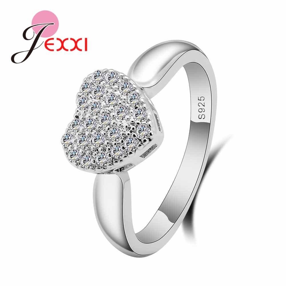 [해외]JEXXI 여자를로맨틱 하트 반지 럭셔리 선물 포장 된 전체 마이크로 AAA 큐빅 지 르 콘 고품질 925 스털링 실버 쥬얼리/JEXXI Romantic Heart Rings for Women Luxury Gift Paved Full Micro AAA Cubic
