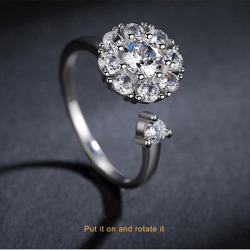 [해외]Anenjery 트렌디 한 패션 925 스털링 실버 눈부신 CZ 회전 개방 반지 결혼 반지 여성을약혼 반지 S-R295/Anenjery Trendy Fashion 925 Sterling Silver Dazzling CZ Rotate Opening Rings En