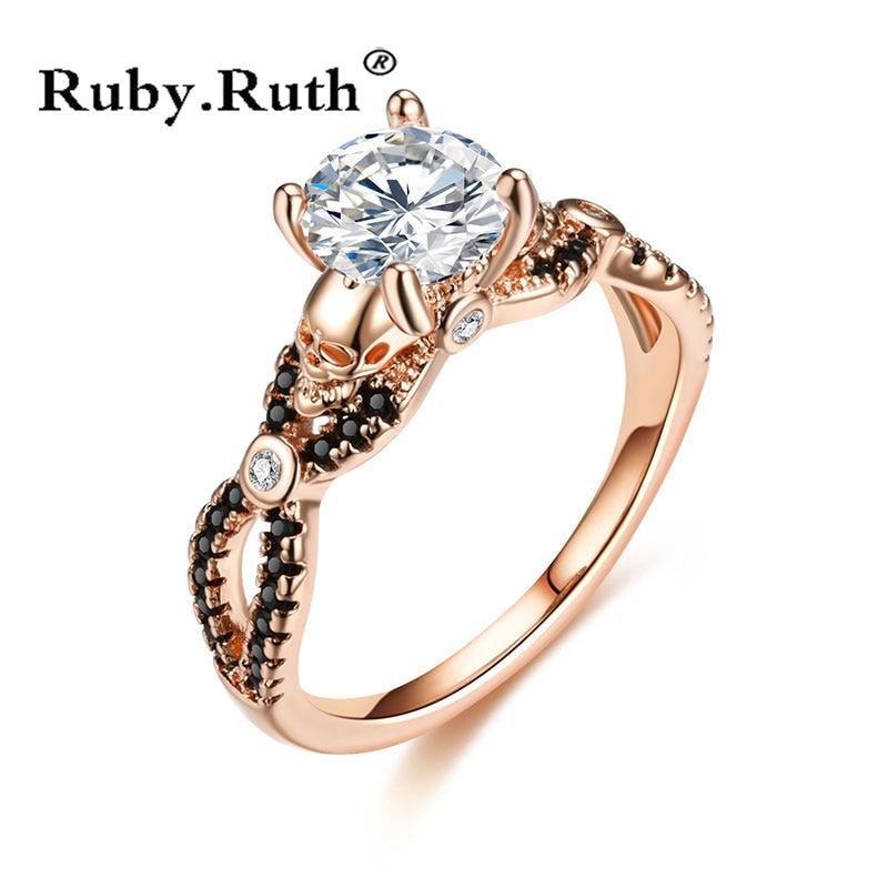 [해외]해골 반지 로즈 골드 컬러 패션 웨딩 & amp; 여성을약혼 CZ 크리스탈 반지 쥬얼리 /Skull Ring Rose Gold  Color Fashion Wedding & Engagement CZ Crystal For Women Ring Jewel