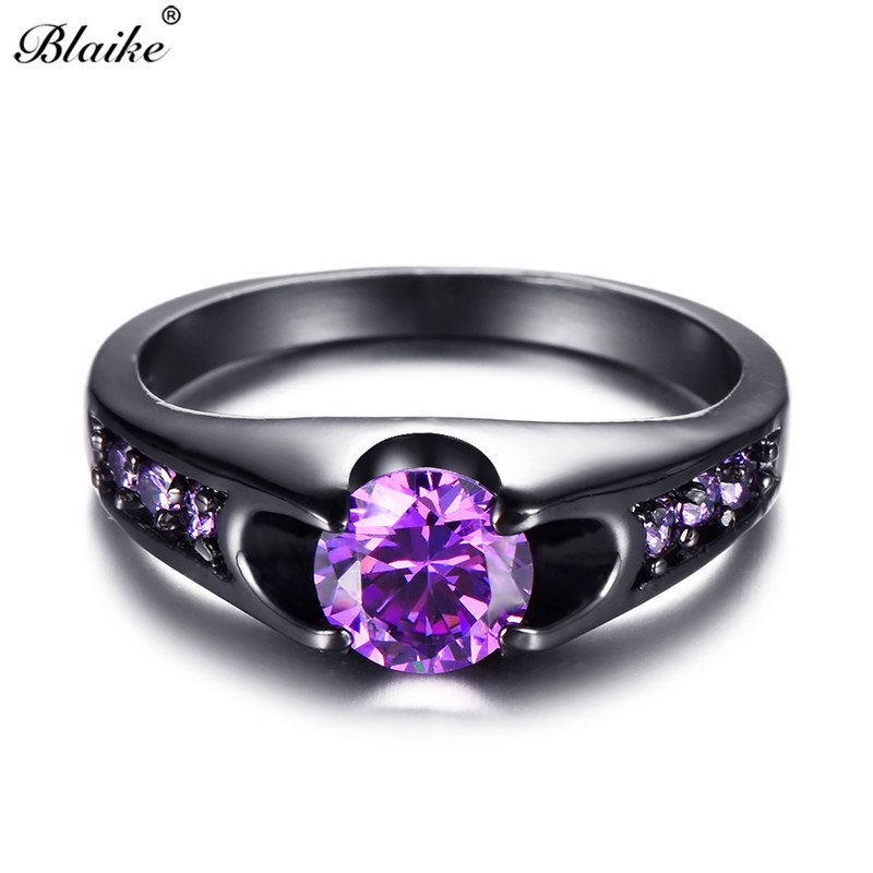 [해외]/Blaike Purple Crystal Round Zircon Rings For Women Retro Black Gold Filled Birthstone Ring Charm Jewelry Female Birthday Gifts