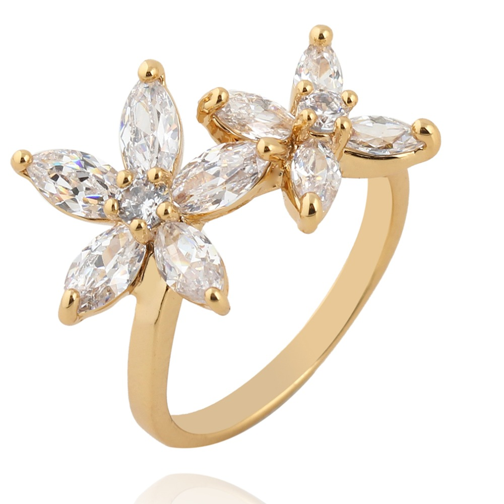 [해외]/Elegant Flowers gold Finger Rings  For Women  Austrian Crystals Ring Fashion desgin Jewelry top quality Wholesale Dropshipping