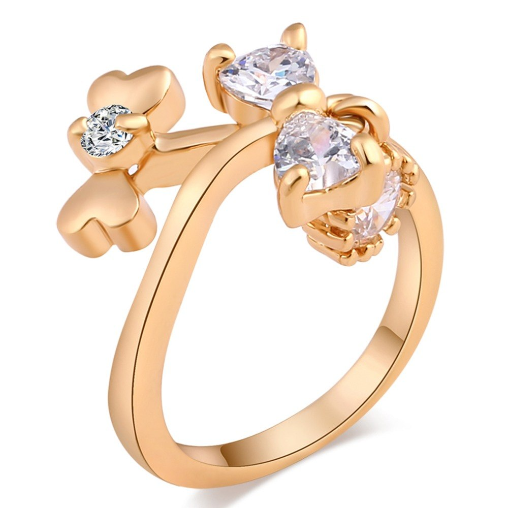 [해외]/Jewelry Simple Crystal Bow Ring women ringscrystals Wedding Engagement Ring  Austrian Crystals pendant Bands Fashion Whole
