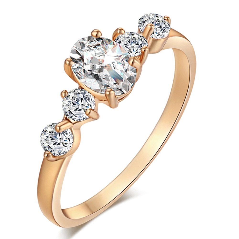 [해외]/Luxury gold Ring Oval Classic Crystal Rings For Women Engagement Morganite Wedding fashion Band Fine Jewelry New Wholesale Drops