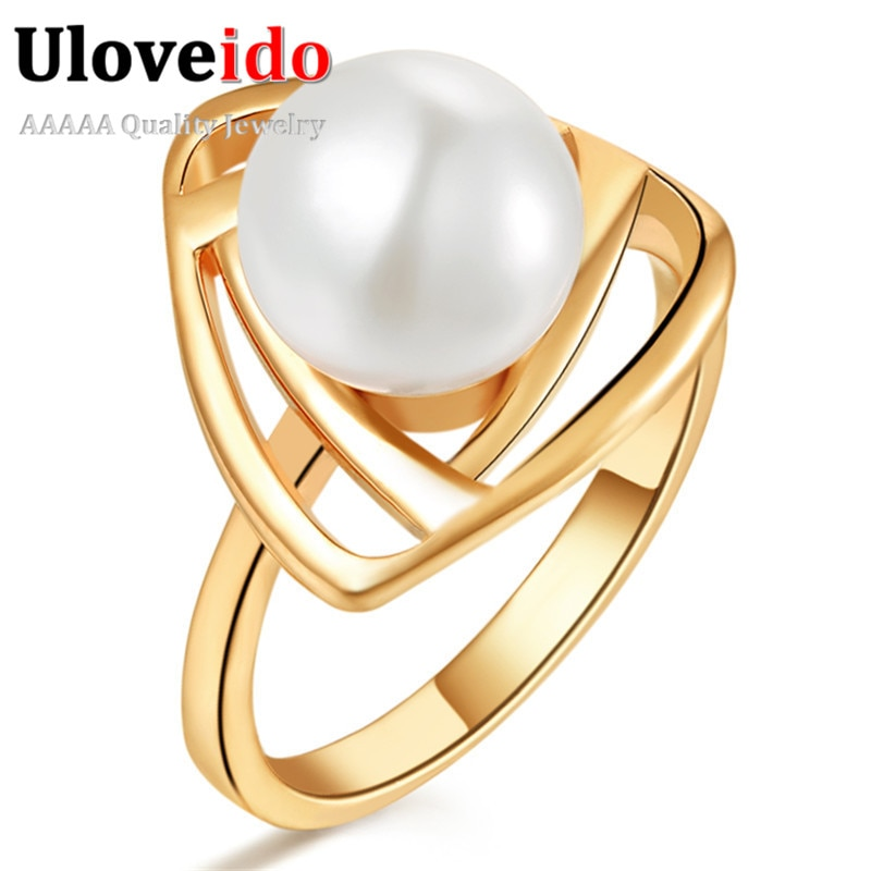 [해외]/Rings for Women Fantasy Ring Female Simulated Pearl Jewelry Rose Gold Color Triangle Jewellery Women`s Accessories 15% Off J316