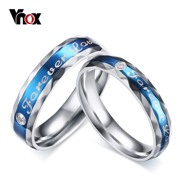 [해외]/Vnox Forever Love Wedding Ring for Women Men Engraving Name Promise Gift US size