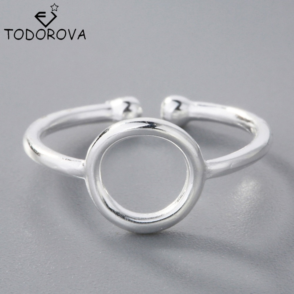 [해외]/Todorova New Arrival Silver Rings for Women Open Round Adjustable Simple Geometric Circle Rings Female Gift