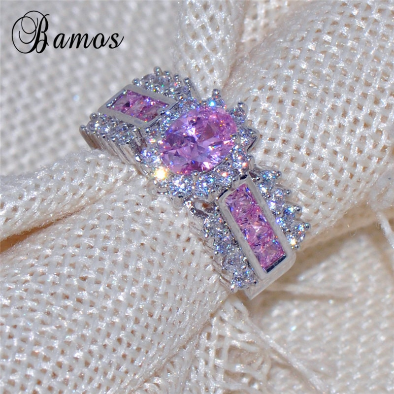 [해외]/Bamos Romantic Sparkling Geometric Pink & White AAA Zircon Engagement Rings For Women White Gold Filled Best Lover Gifts RW1112