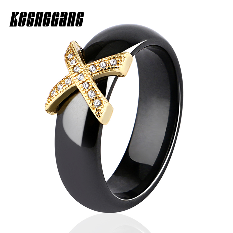 [해외]/Gold Rose Gold Letter X White Black Ceramic RingStainless Steel Crystal For Women Men Couple Jewelry Size 6/7/8/9/10/11/12