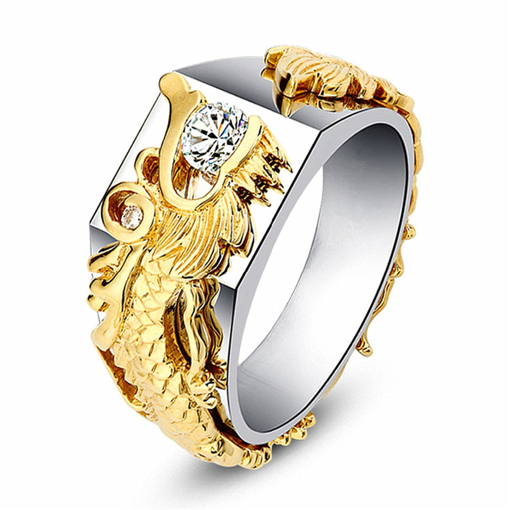 [해외]/Gold Dragon Men Ring Signet Seal Male Ring Silver Classic Women Rings Jewelry Wedding Band Engagement Party Punk Rock Hip Hop