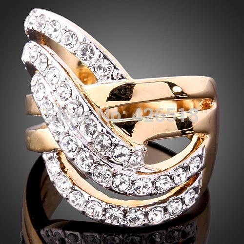 [해외]New 2018 Europe and America Jewelry Retro Fashion Gold Color Rhinestone Rings Wedding Ring Set Cross Rings/New 2018 Europe and America Jewelry Ret