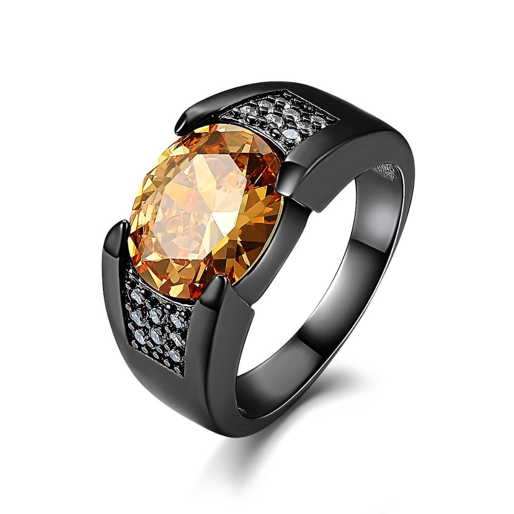 [해외]SuoHuan Size 7-13 Vintage Men Ring Champagne Zircon Big Stone Crystal Black Gold Filled Wedding Party Male Finger Jewelry Gift/SuoHuan Size 7-13 V