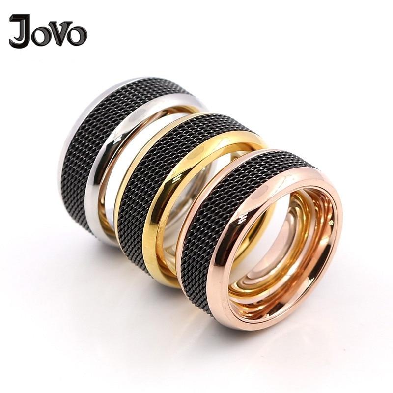 [해외]2018 Fashion Stainless Steel Rings for Women High Polish Black Color Mesh Rings Design Wedding Bands in Gold/silver/Rose gold/2018 Fashion Stainle