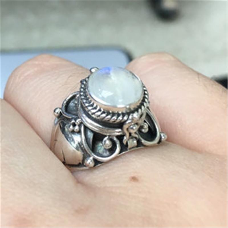 [해외]Rainbow Moonstone Ring Bohemia Anniversary Ring Silver Color Rings For Women Wedding Accessories jewelry Anillos Mujer/Rainbow Moonstone Ring Bohe