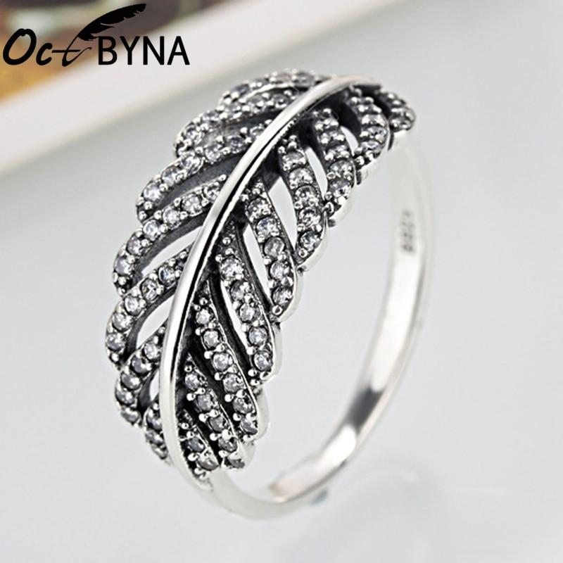 [해외]OCTBYNA Fashion Silver Leaves Rhinestone Ring For WomanZirconia  Ring Female Men Cocktail Part Jewelry/OCTBYNA Fashion Silver Leaves Rhinestone Ri