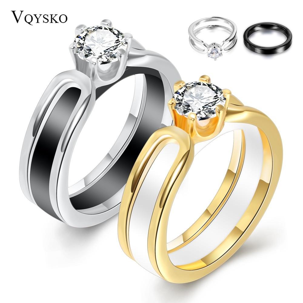 [해외]Lokaer 2 layers Black/White Ceramic Crystal Wedding Rings Jewelry AAA Zircon Stainless Steel Rhinestone Engagement/Lokaer 2 layers Black/White Cer
