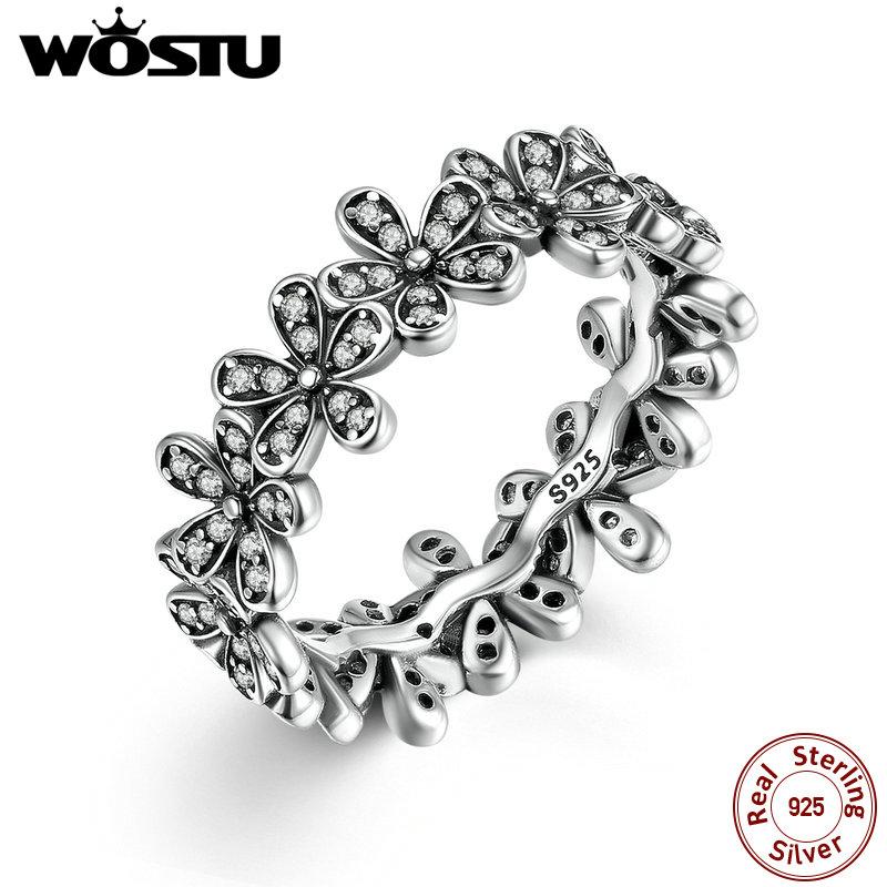 [해외] 100% 925 Sterling Silver Dazzling Daisy Meadow Stackable Ring For Women Luxury Original Jewelry Gift XCH7122/ 100% 925 Sterling Silver Dazzling D
