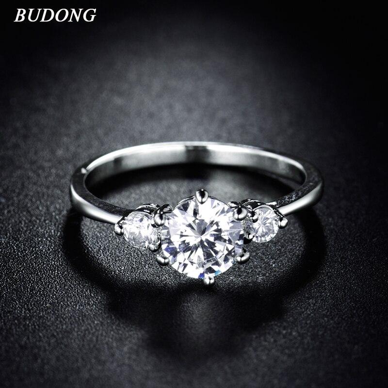 [해외]BUDONG 2017 Vintage Luxury Wedding Women Rings Cubic Zirconia Engagement Ring Silver Color Crystal Journey Jewelry XUR053/BUDONG 2017 Vintage Luxu