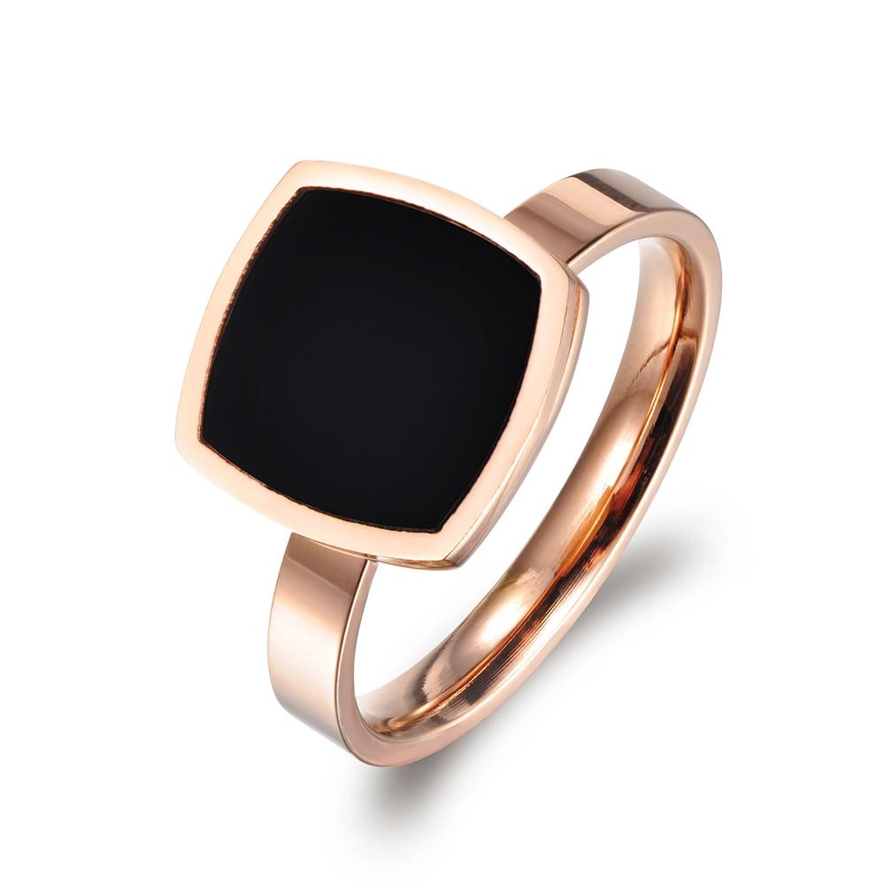 [해외]JeeMango Famous Design Titanium Stainless Steel Ring Jewelry Rose Gold Color Square Black Acrylic Wedding Rings For Women R17044/JeeMango Famous D