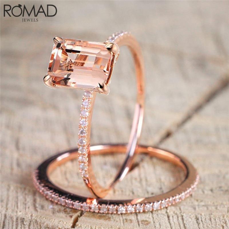 [해외]GS 2 Pcs/Set Crystal Ring Size 6-10 Jewelry Rose Gold Color Rings For Women Men Gift Engagement Wedding Finger Ring Set 2018 R5/GS 2 Pcs/Set Cryst