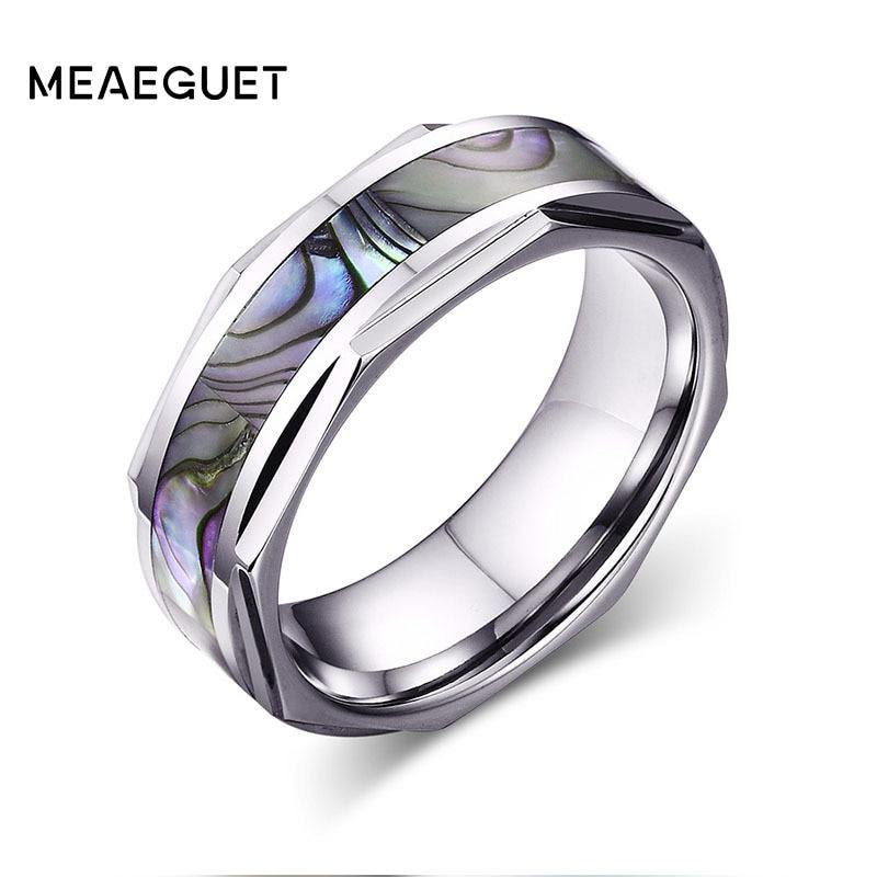 [해외]Shell Inlay Silver Dome Geometric Design Edges Tungsten Rings For Men`s Bridegroom Engagement Anniversary Ring Wedding Jewelry/Shell Inlay Silver
