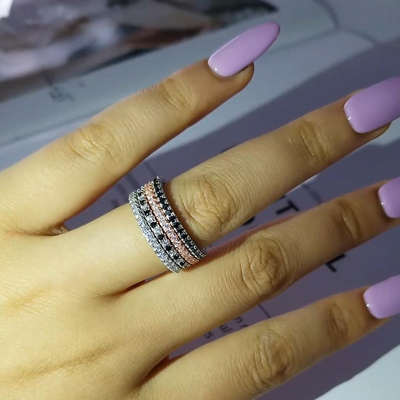 [해외]Moonso 2019 fashion Silver eternity Band Ring Wedding Engagement smallesFinger for Women tail nail Ring Band wholesale R1090AF/Moonso 2019 fashion