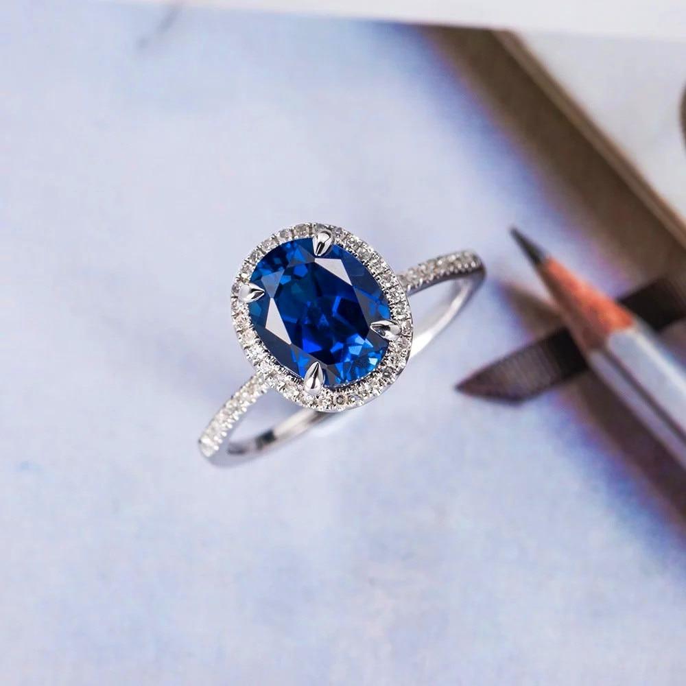 [해외]Boho Female Big Blue Oval Ring Fashion 925 Silver Vintage Wedding Rings For Women Promise Zircon Stone Engagement Ring/Boho Female Big Blue Oval R
