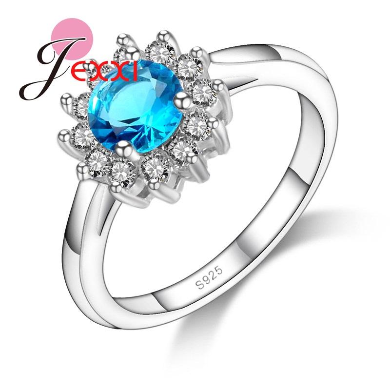 [해외]JEXXI Trendy Sky Blue Cubic Zircon Crystal Wedding Engagement Bands Rings Jewelry Brand Women Sterling Silver Rings Accessory/JEXXI Trendy Sky Blu