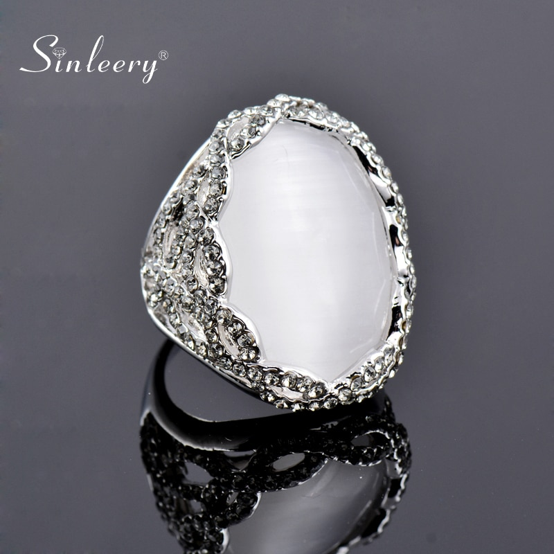 [해외]SINLEERY de lujo blanco opalo Oval anillos de dedo con brillantes de plata de Zirconia cubica Color las mujeres boda joyeria de la joyeria de Jz17